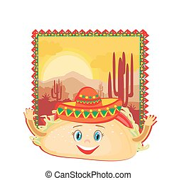 funny Tacos Character , Mexican