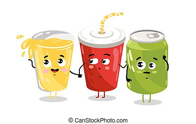 Funny take away glass and soda can character
