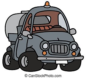 Funny tank truck - Hand drawing of a funny small tank truck...
