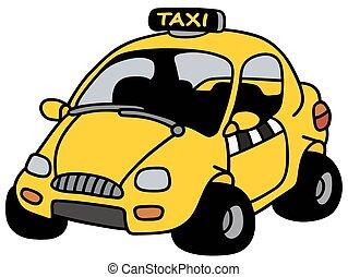 Drawing a cartoon taxi |Yellow Taxi Cab Drawing