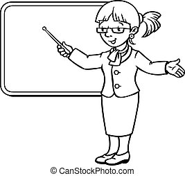 Funny teacher with pointer. Profession series.