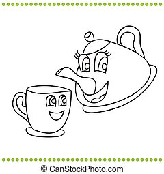 Funny teapot and cup - coloring book