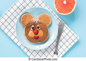 Funny Teddy Bear pancake food art for kids