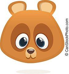 Funny teddy bear smiling head cartoon