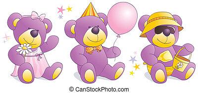 Funny Teddy bears - party, beach,