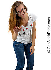 Funny teenager girl with glasses