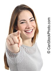 Funny teenager girl with white smile pointing at you