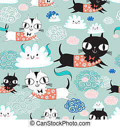 funny texture of the kittens - seamless pattern of funny...