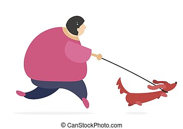 Funny thick woman running with her dog going in for sport.