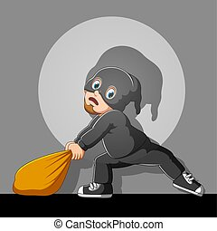 Funny thief with mask in action of illustration
