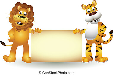 funny tiger and lion cartoon