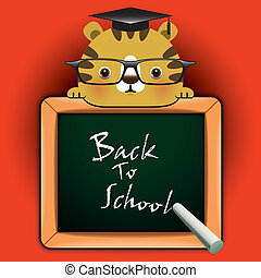 Funny tiger around a blackboard