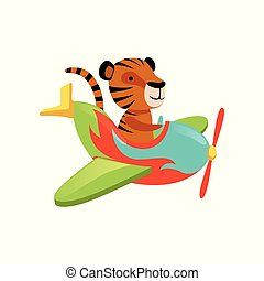 Funny tiger flying on multi-colored airplane. Cartoon orange wild animal with black stripes. Flat vector design for greeting card, children book or sticker