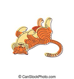 Funny tiger lying on its back. Large wild cat with orange striped coat. Predatory animal. Hand drawn vector design