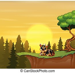 Funny tiger sitting on the cliff with a beauty sunset landscape