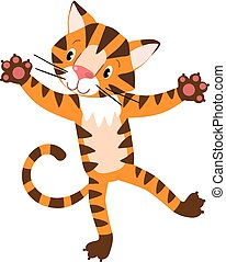 Funny tiger, standing on hind legs - Children vector...