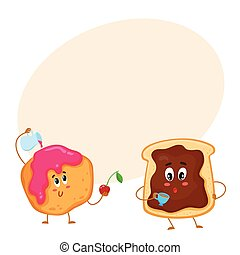 Funny toast with chocolate spread and donut characters, breakfast pastry