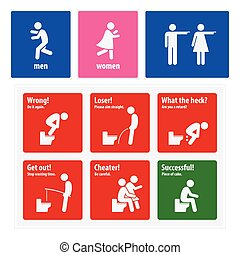 Funny Toilet Signs - A set of toilet sign and symbols. They...