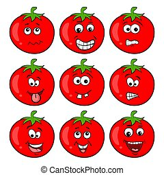 Funny tomato character set cartoon design isolated on white background