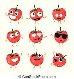 Funny tomato - vector isolated cartoon emoticons