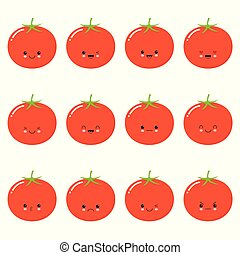Funny tomato - vector isolated cartoon emoticons. Cute emoji set with a nice character. Kawaii cute vegetable