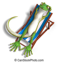 funny toon gecko. 3D render with clipping path and shadow ...