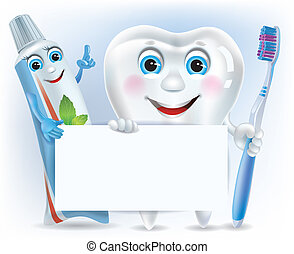 Funny tooth, tooth paste and tooth brush with blank. ...