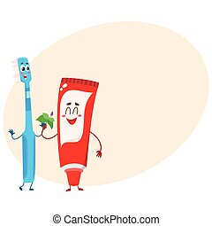 Funny toothpaste and toothbrush character, dental care concept