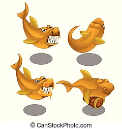 Funny toothy fish with a wooden barrel isolated on white background. Vector cartoon close-up illustration.