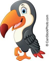 Funny toucan bird cartoon - vector illustration of Funny...