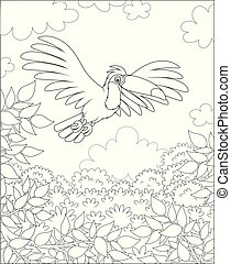 Black and white exotic bird flying over green tropical jungle on a sunny summer day, black and white vector illustrations in a cartoon style for a coloring book