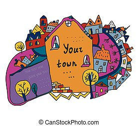 Funny town scene background for kids