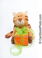 Funny toy cat with a gift