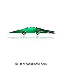 Funny toy crocodile with wheels for your design