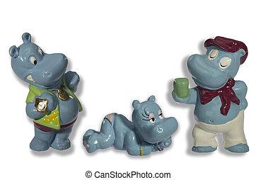 funny toy hippos - funny toy hippopotamus show their...