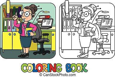 Funny translator or interpreter. Coloring book