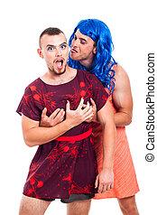 Funny transvestites having fun