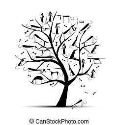 Funny tree with dogs on branches for your design