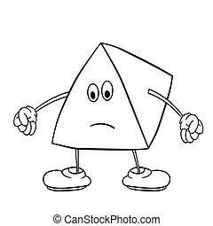 Funny triangle smiley with legs and eyes clenches his hands into fists. Coloring book for kids.