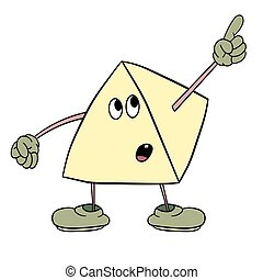 Funny triangle smiley with legs and eyes showing one finger up. Caricature color sketch.
