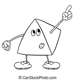 Funny triangle smiley with legs and eyes showing one finger up. Coloring book for kids.
