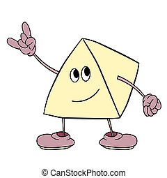 Funny triangle smiley with legs and eyes shows a victory sign. Caricature color sketch.