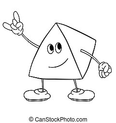 Funny triangle smiley with legs and eyes shows a victory sign. Coloring book for kids.