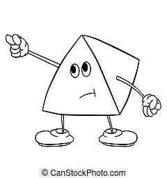 Funny triangle smiley with legs and eyes shows an indecent gesture. Coloring book for kids.