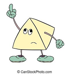 Funny triangle smiley with legs and eyes shows an indecent gesture with his finger. Caricature color sketch.