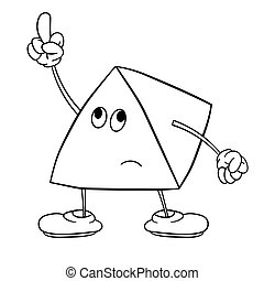 Funny triangle smiley with legs and eyes shows an indecent gesture with his finger. Coloring book for kids.