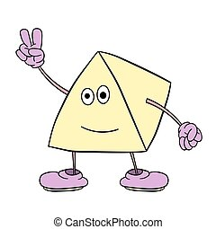 Funny triangle smiley with legs and eyes shows two fingers up. Caricature color sketch.