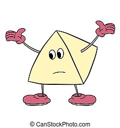 Funny triangle smiley with legs and eyes spreads his arms to the side. Caricature color sketch.
