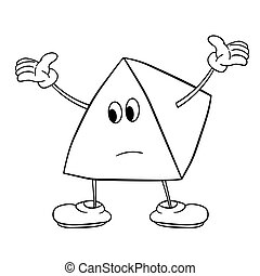 Funny triangle smiley with legs and eyes spreads his arms to the side. Caricature color sketch. Coloring book for kids.