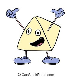 Funny triangle smiley with legs and eyes waving his arms and screaming happily. Caricature color sketch.